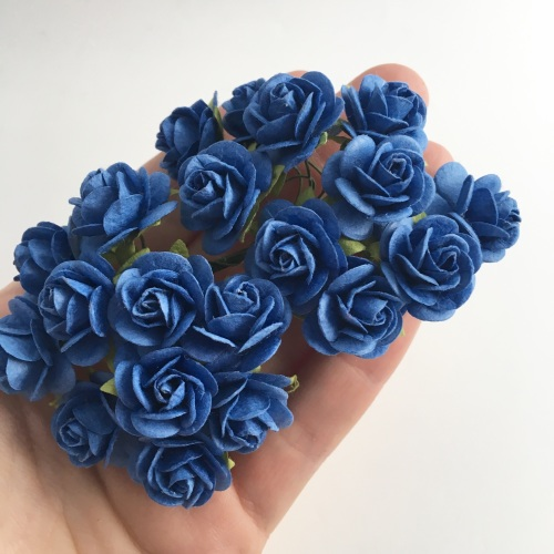 Mulberry Paper Open Roses - Royal Blue 10mm 15mm 20mm