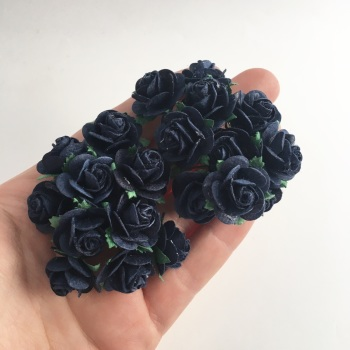 Mulberry Paper Open Roses - Navy 10mm 15mm 20mm