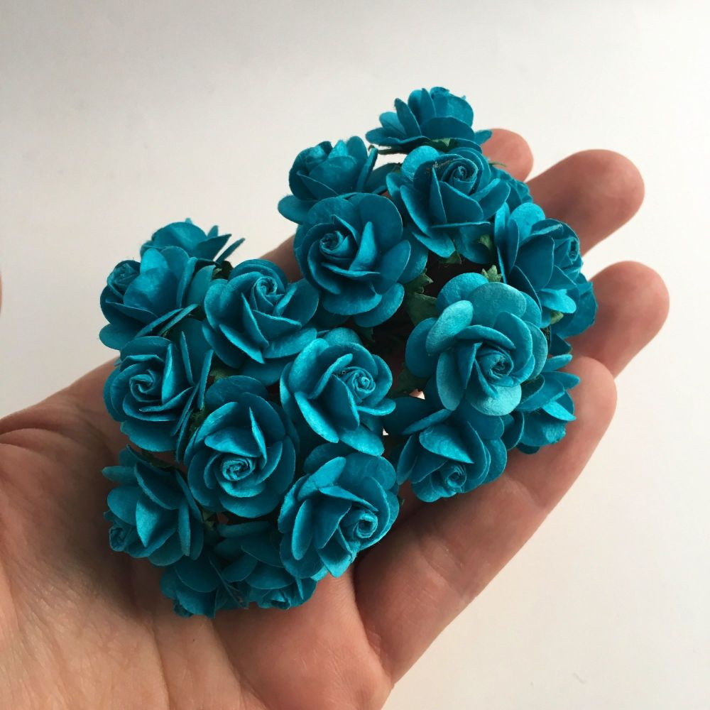 Mulberry Paper Open Roses - Dark Turquoise 10mm 15mm 20mm
