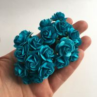 <!--031--> Mulberry Paper Open Roses - Dark Turquoise 10mm 15mm 20mm