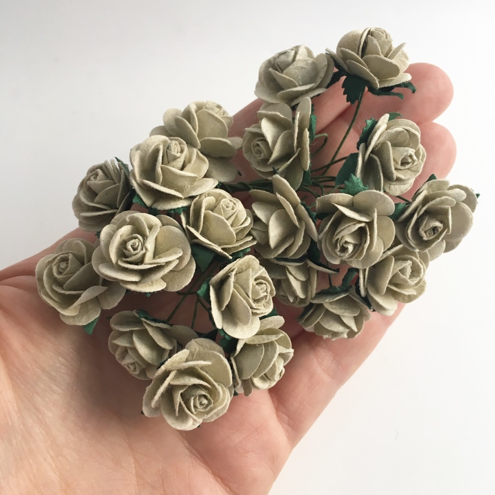 Mulberry Paper Open Roses - Dove Grey 10mm 15mm 20mm