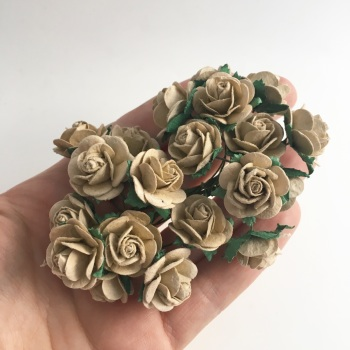 Mulberry Paper Open Roses - Light Mocha 10mm 15mm 20mm