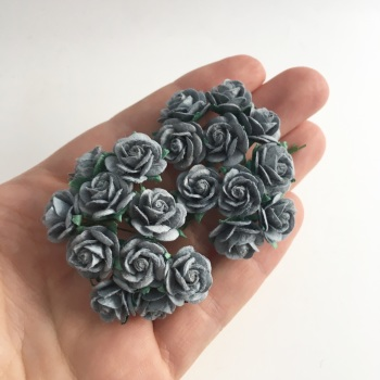 Mulberry Paper Open Roses - Parma Grey 10mm 15mm 20mm