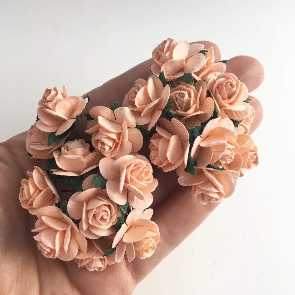 Mulberry Paper Open Roses - Peach Puff 10mm 15mm 20mm
