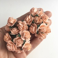 <!--009--> Mulberry Paper Open Roses - Peach Puff 10mm 15mm 20mm