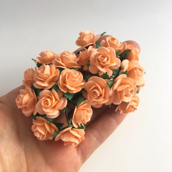 Mulberry Paper Open Roses - Peach 10mm 15mm 20mm