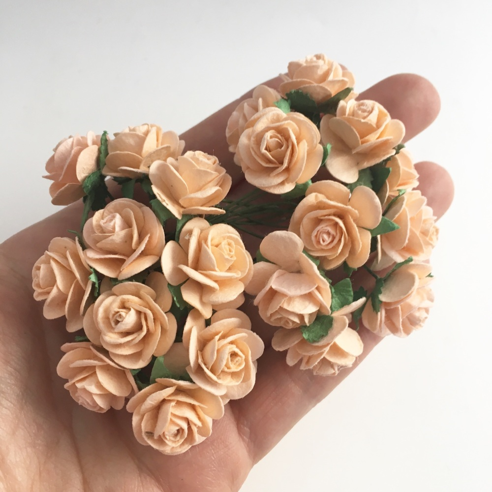 Mulberry Paper Open Roses - Pale Peach 10mm 15mm 20mm