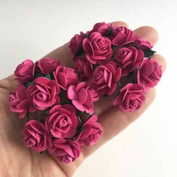 Mulberry Paper Open Roses - Deep Pink 10mm 15mm 20mm
