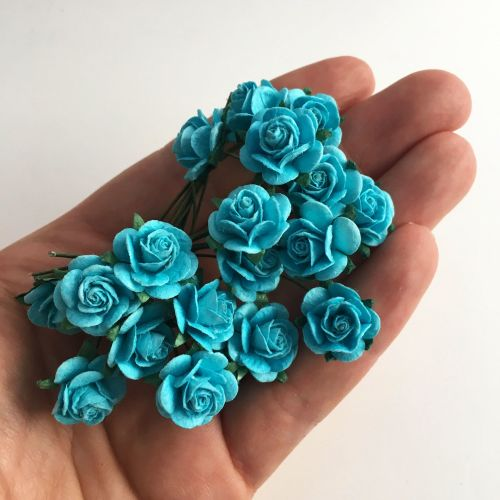 Mulberry Paper Open Roses - Turquoise 10mm 15mm 20mm