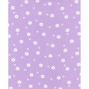 Lecien Flower Sugar Rose Kiss - Daisy Dot Pearl Violet - Felt Backed Fabric