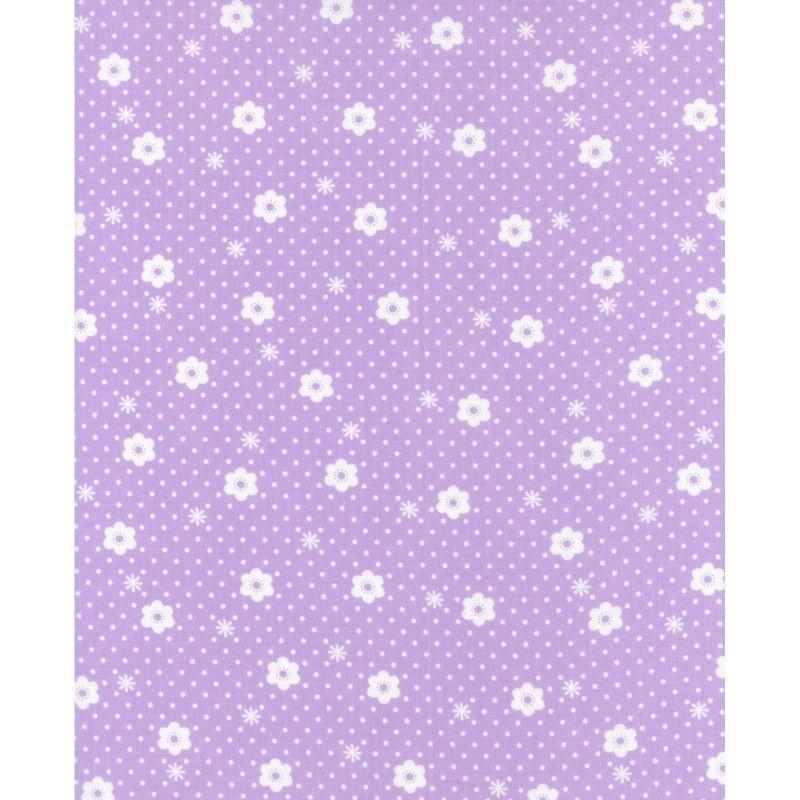 Lecien Flower Sugar Rose Kiss - Daisy Dot Pearl Violet - Felt Backed Fabric