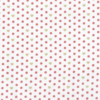 Lecien Loyal Heights by Jera Brandvig - Strawberry on White Heart Dot (Metallic)