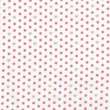 Lecien Loyal Heights by Jera Brandvig - Strawberry on White Heart Dot (Metallic)
