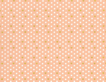 Lecien Loyal Heights - Peach Heart Dot - Felt Backed Fabric (Metallic)