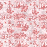 Lecien Loyal Heights - Strawberry Cottages - Felt Backed Fabric
