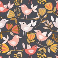 REMNANT 40CM X 110CM Flourish by Dashwood Studio - Birds on Black