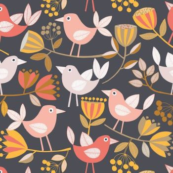 REMNANT 40CM X 110CM Flourish by Dashwood Studio - Birds on Black