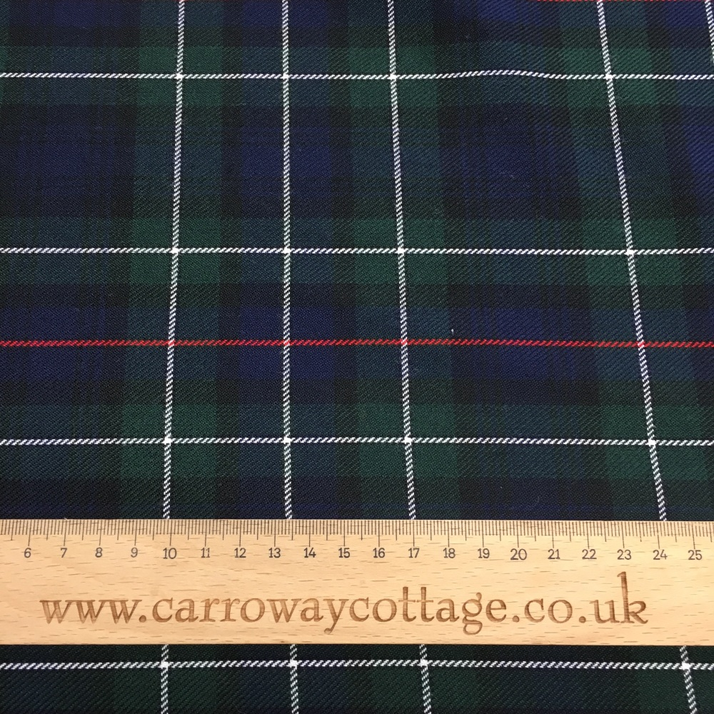 Tartan - Navy and Green with Red and White Stripe - Felt Backed Fabric
