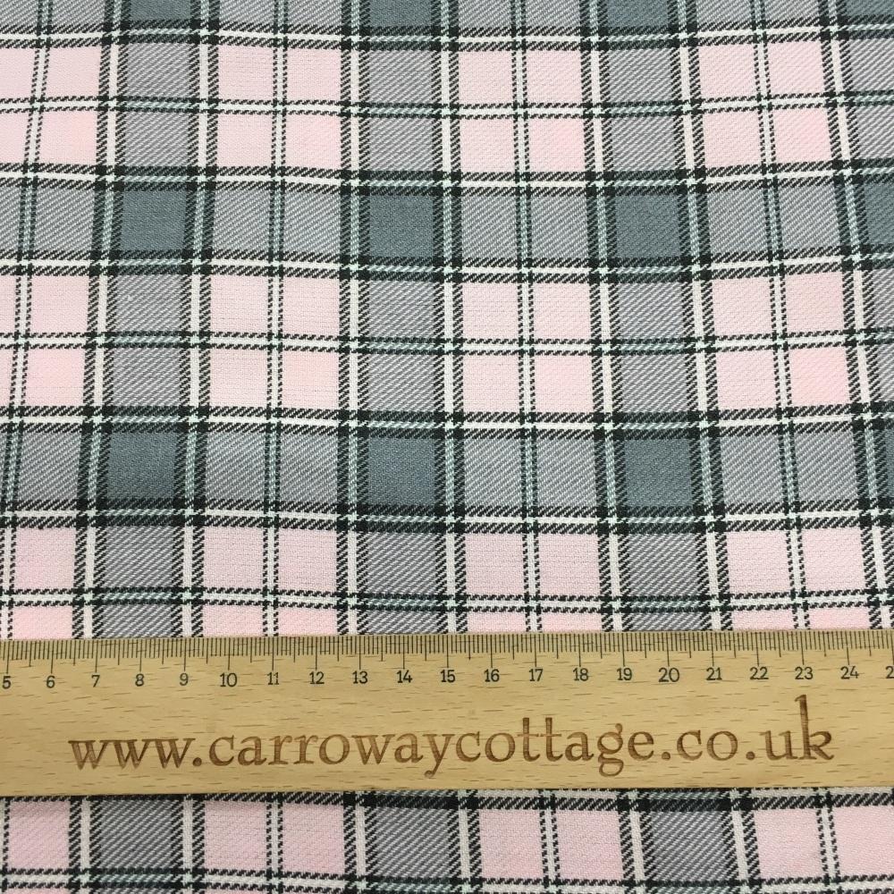 Tartan - Grey with Pink - Felt Backed Fabric