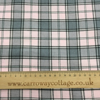 Tartan - Grey with Pink - Felt Backed Fabric
