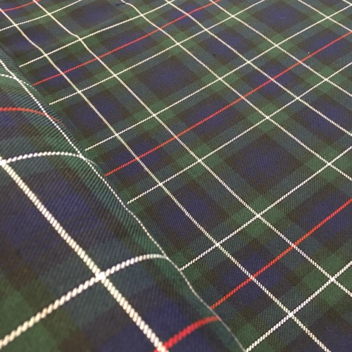 Polyviscose Tartan - Green and Navy with Red and White Lines