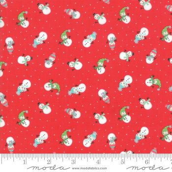 Moda - Snow Days - Snowmen Candy Red  - Felt Backed Fabric