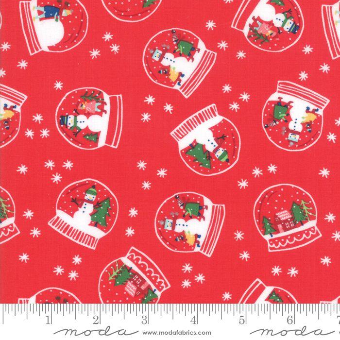 Moda - Snow Days - Snowglobe Magic Candy Red  - Felt Backed Fabric