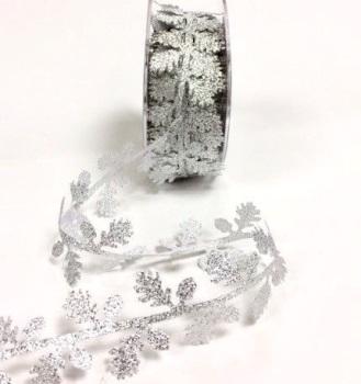 Silver Cut Leaf Garland Trim