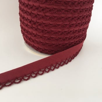 Burgundy 12mm Pre-Folded Plain Bias Binding with Lace Edge
