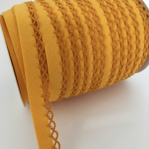 Mustard 12mm Pre-Folded Plain Bias Binding with Lace Edge