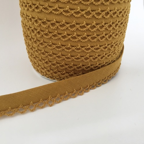 Topaz 12mm Pre-Folded Plain Bias Binding with Lace Edge