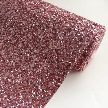 Premium Chunky Glitter Fabric - Blush Pink
