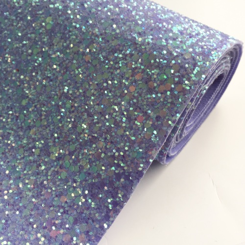 Premium Chunky Glitter Fabric - Crystal Lilac