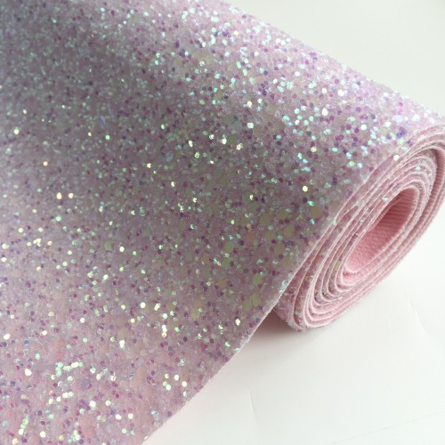 Premium Chunky Glitter Fabric - Crystal Pink