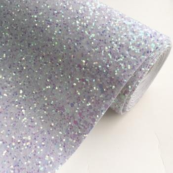 Premium Chunky Glitter Fabric - Crystal White