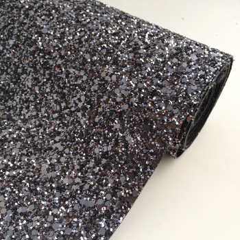 Premium Chunky Glitter Fabric - Gunmetal