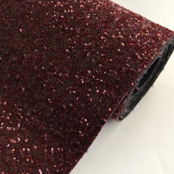 Premium Chunky Glitter Fabric - Merlot