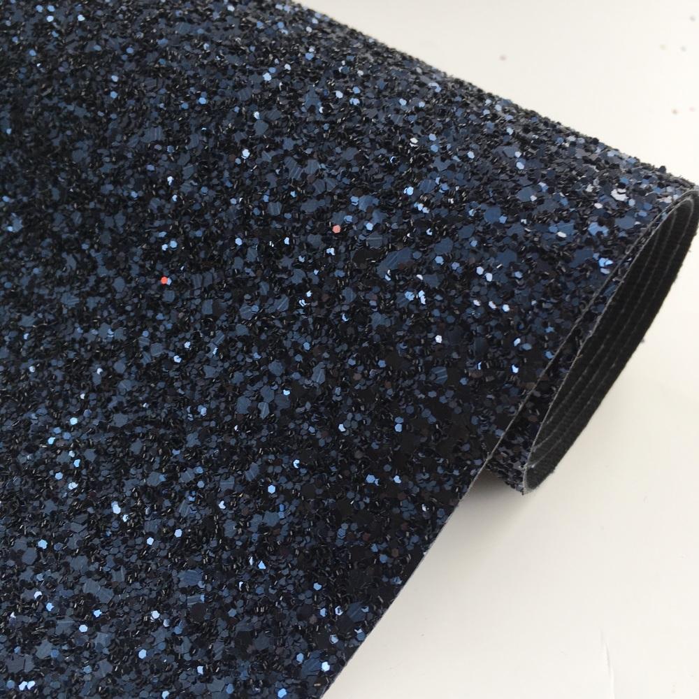 Premium Chunky Glitter Fabric - Navy