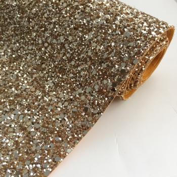 Premium Chunky Glitter Fabric - Pale Gold