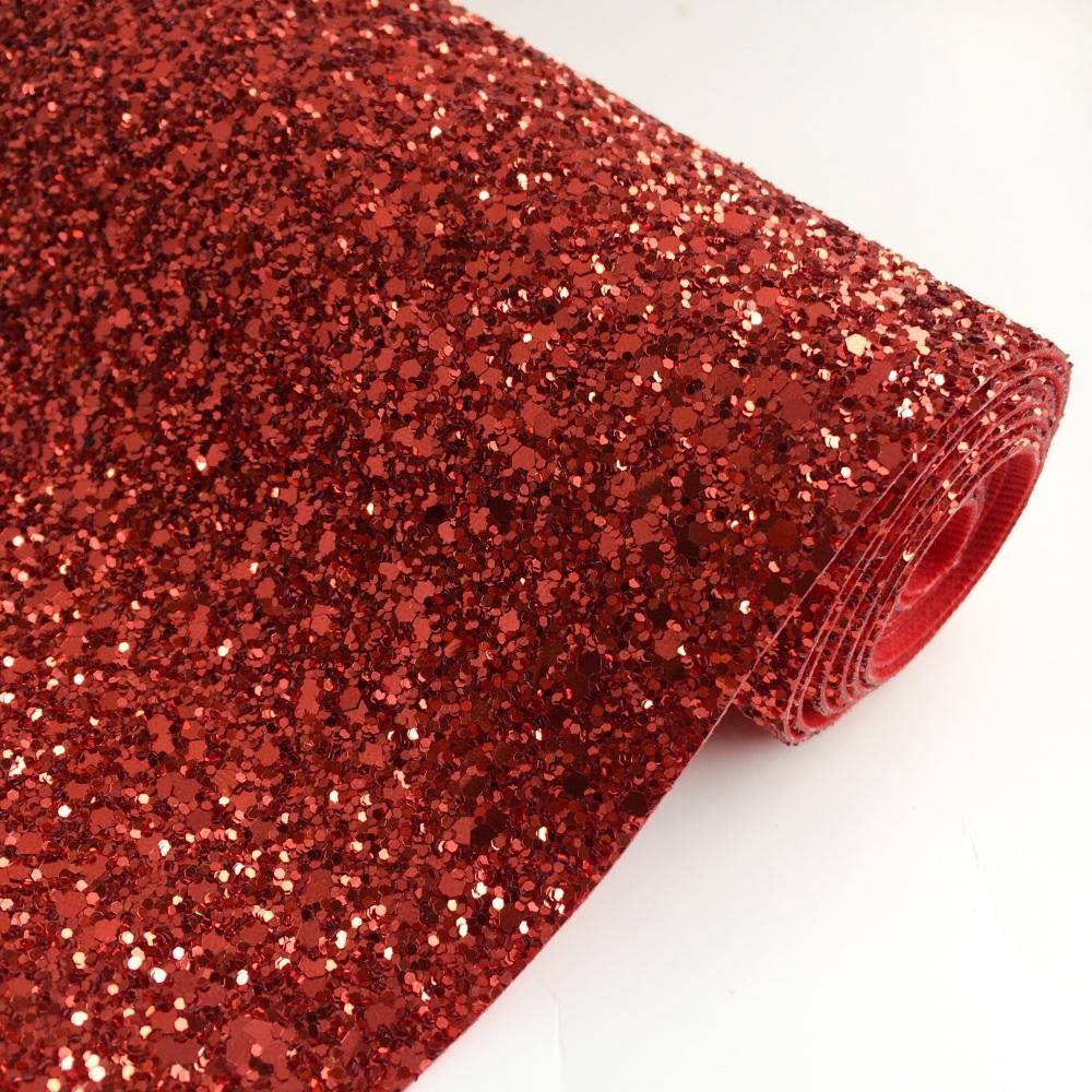 Premium Chunky Glitter Fabric - Ruby Red