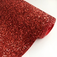 Premium Chunky Glitter Fabric - Ruby Red