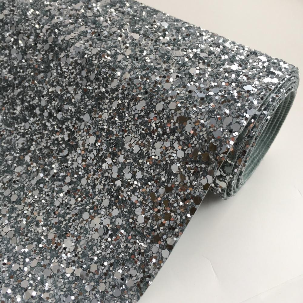 Premium Chunky Glitter Fabric - Silver