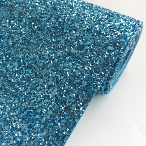 Premium Chunky Glitter Fabric - Sky Blue