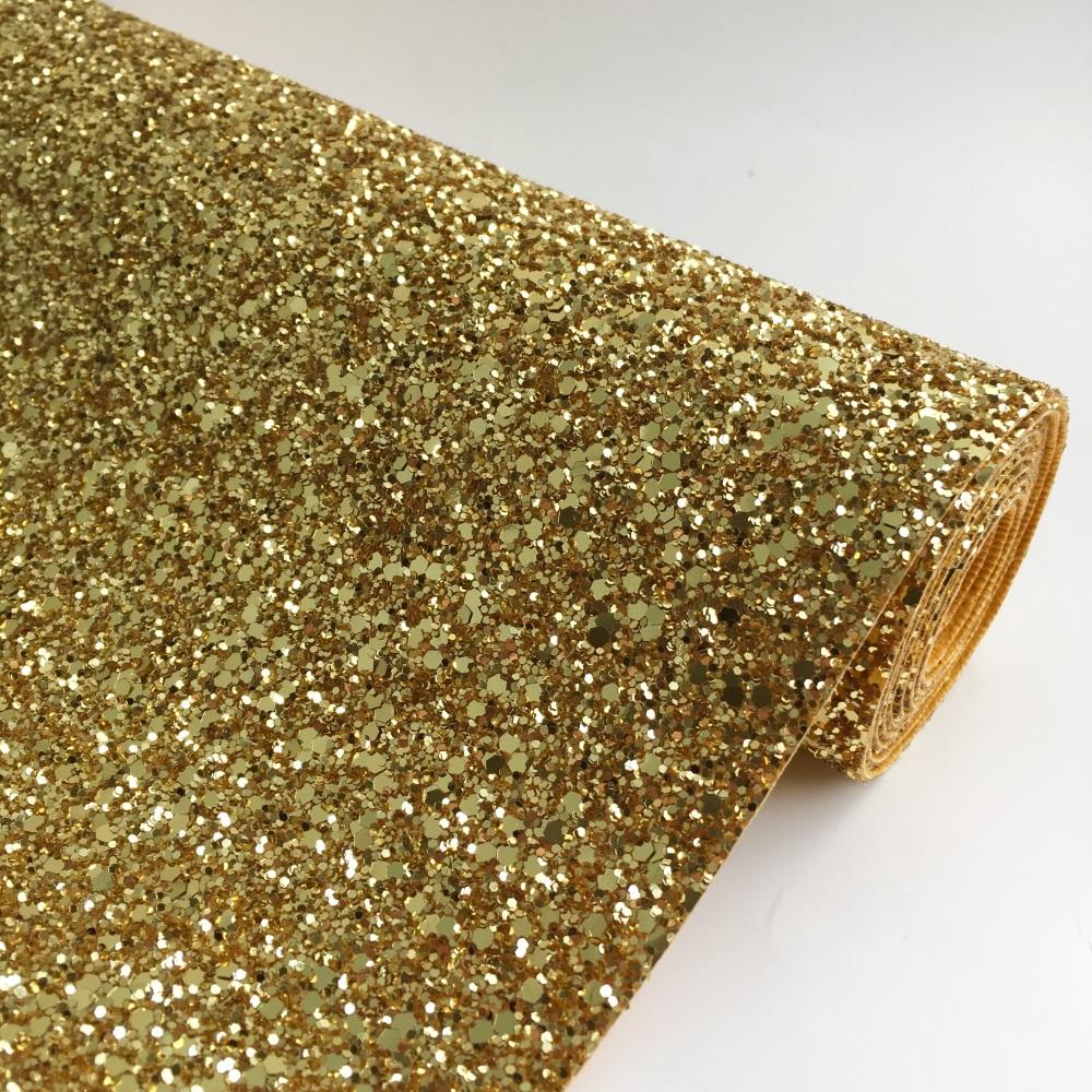 Premium Chunky Glitter Fabric - True Gold
