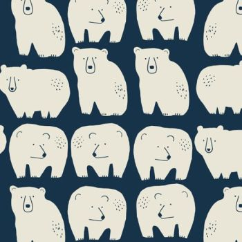 REMNANT 20CM X 110CM Laska by Dashwood Studio - Bears on Navy