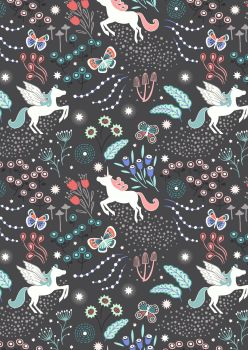 REMNANT 35CM X 110CM Lewis and Irene -  Fairy Nights - Unicorns Meadow on Black - Glow in the Dark
