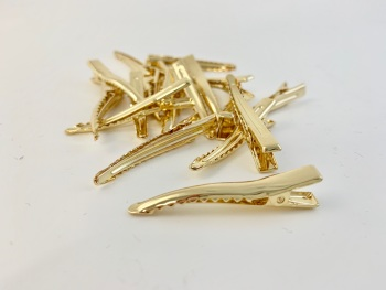 Gold Alligator Hair Clips 4.3cm