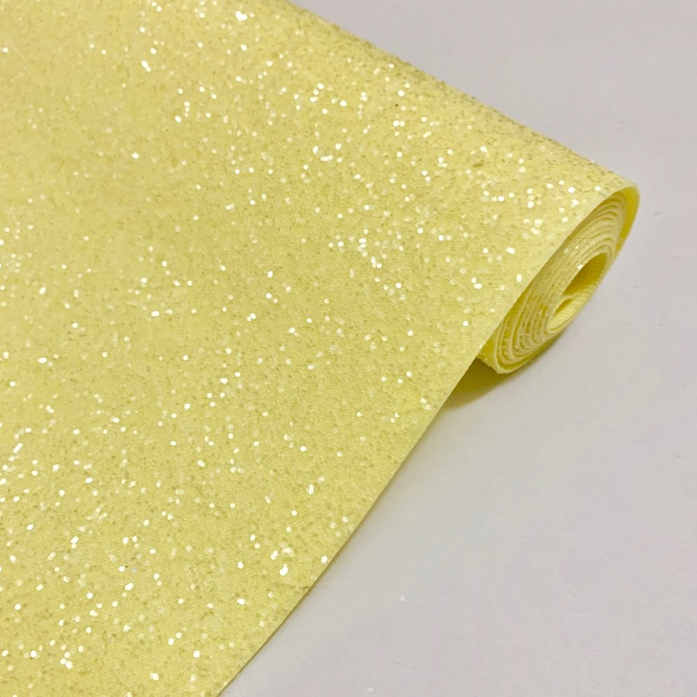 Premium Frosted Glitter Fabric - Lemon
