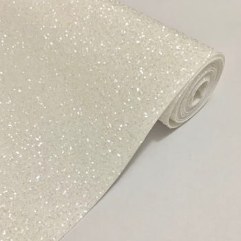 Premium Frosted Glitter Fabric - White