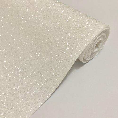 Premium Frosted Glitter Fabric - White